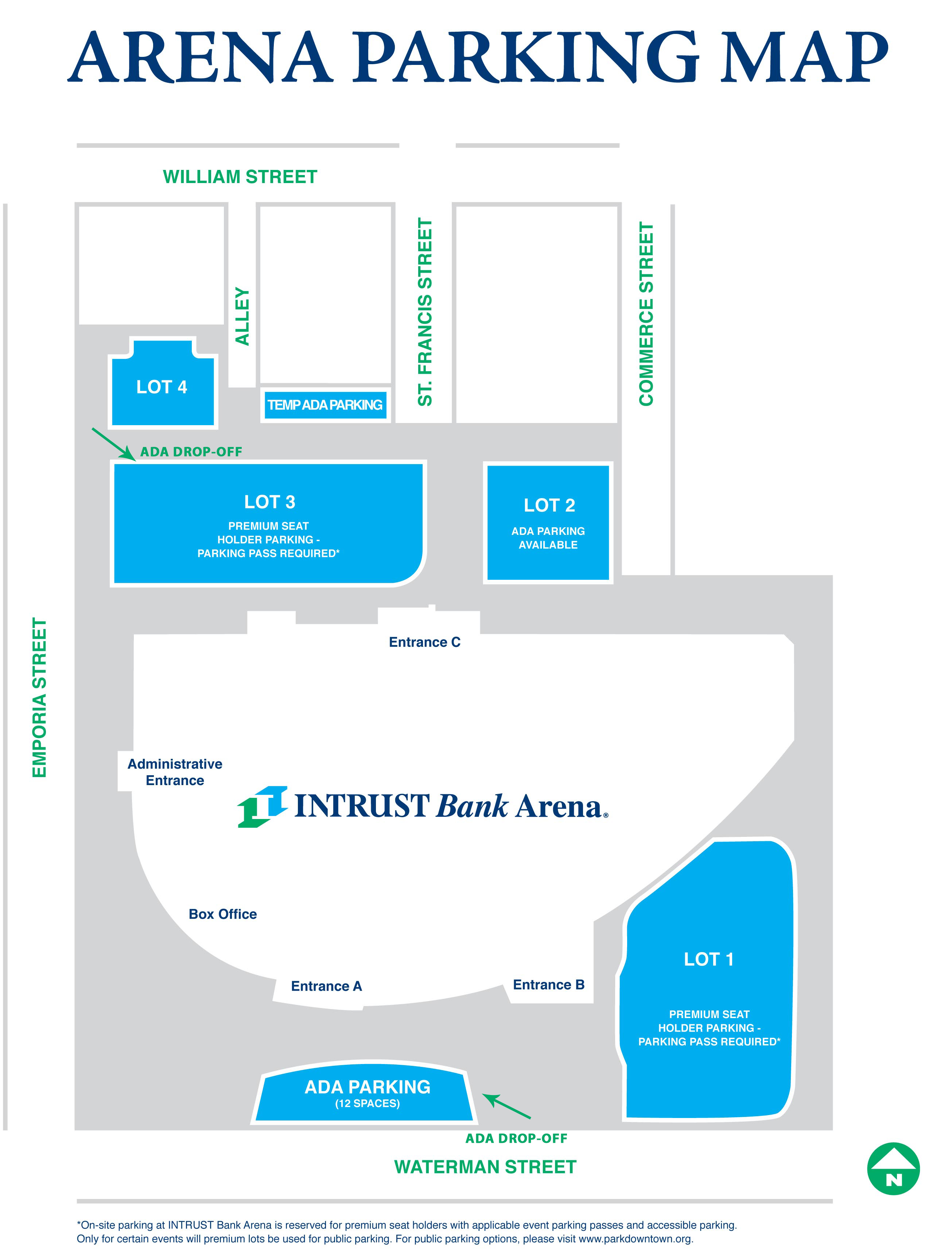 Directions Parking Guest Services INTRUST Bank Arena - Map us bank arena