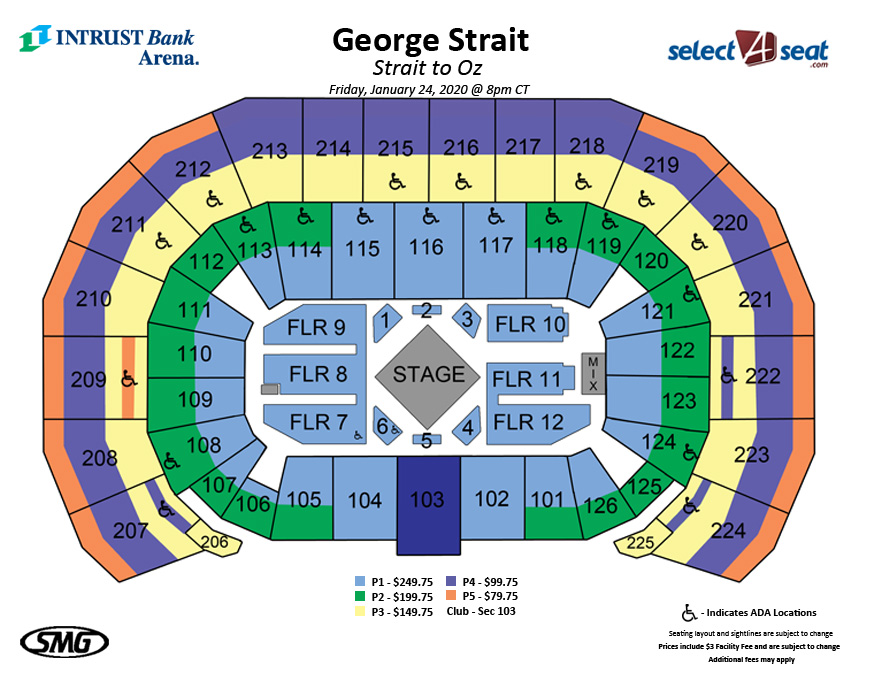 Seating Charts Events Tickets Intrust Bank Arena - Us-bank-arena-seat-map
