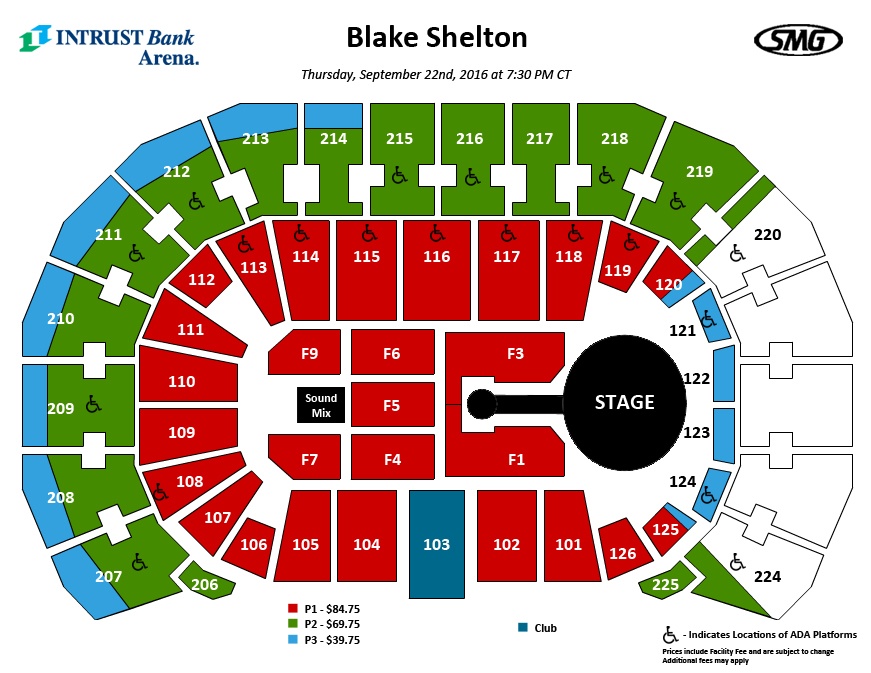 Detailed seating chart intrust bank arena